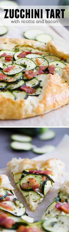 A tender, flaky crust is filled with a creamy ricotta filling, then topped with bacon and zucchini in this easy Zucchini Tart with Ricotta and Bacon that is perfect for a luncheon or a light dinner.:
