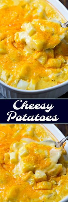 Super Cheesy Potatoes- drowning in cheese sauce!