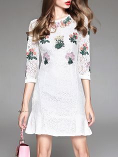 #AdoreWe #StyleWe MOOERKERR White 3/4 Sleeve Lace Crew Neck Crocheted Mini Dress - AdoreWe.com
