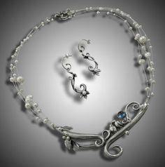 """""""Woodland Romance"""" wedding jewelry suite by Holly Gage Fine silver, blue london topaz, and pearls"""