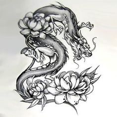 Japanese Dragon With Peonies Tattoo Design