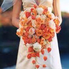 """See the """"Bouquet with Orange Lanterns"""" in our Yellow and Orange Wedding Flowers gallery Bridal Bouquet Fall, Fall Bouquets, Fall Wedding Bouquets, Autumn Wedding, Wedding Dresses, Bridal Bouquets, Orange Wedding Flowers, Wedding Colors, Orange Flowers"""