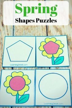 These spring shapes matching puzzles are just one of the many activities that are great for helping your kindergarten kids recognize the different shapes around them. Definitely, a fun hands-on way to learn that's perfect for your center. Math Games For Kids, Puzzles For Kids, Activities For Kids, Learning Activities, Free Preschool, Free Math, Preschool Themes, Spring Activities, Kindergarten Activities
