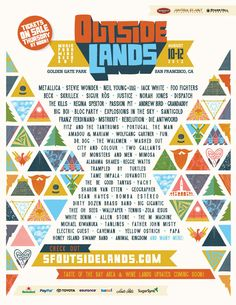 Outside Lands returns to San Francisco's Golden Gate Park on August Come join the Bay Area's best celebration of Music, Food, Wine, Beer, Art and Comedy. Festival Posters, Concert Posters, Music Posters, Die Outsider, Outside Lands Festival, Musikfestival Poster, M Jack, Passion Pit, Andrew Bird