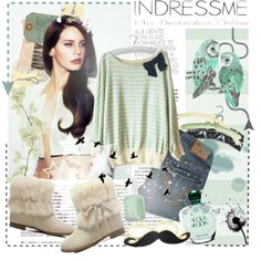 """""""Bows, Stripes and Mustache"""" by rushe on Polyvore"""