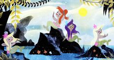 Concept art of the Mermaid Lagoon by Mary Blair for Disney's Peter Pan (1953)