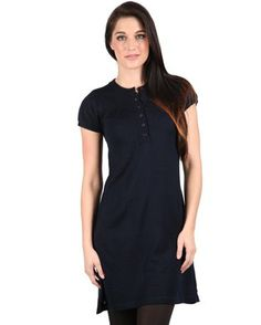 Keep your style classic and unadulterated with this navy blue Knitted Dress With 3/4 Button Placketby Utopia. The simple, A-line design is woven with soft, quality cotton. It reaches mid-thigh, with slightly puffed, cap sleeves and a round neckline leading into a six-button placket down the front.