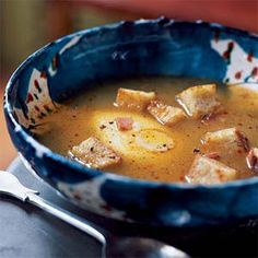 Sopa de Ajo Castellana (Castilian Garlic Soup) - a recipe from Spain and a great way to use your leftover ham at Christmas! from MyRecipes.com