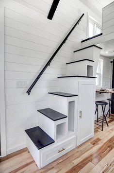 Koko 2 Tiny House on Wheels by Modern Tiny Living Tiny House Movement // Tiny Living // Tiny House Stairs // Tiny Home Storage Hacks // Modern Tiny House, Tiny House Living, Tiny House Plans, Tiny House Design, Tiny House On Wheels, Living Room, Tiny House Stairs, Small Staircase, Loft Staircase