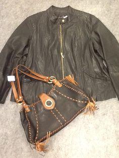 Bagatelle Black Leather Jacket; Size 2X $72.00  Kate Landry Handbag $40.00