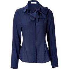 675141f32257e0 JIL SANDER Persian Blue Wool Tie Neck Blouse ( 1