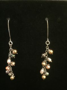 Sliver Earth-tone Multicolor Pearl Dangle Earrings-999 Pure Silver Rings with Sterling Hooks & Freshwater Pearls with beautiful nature color by MJDesigns4You on Etsy