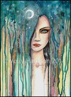 Moon Girl Abstract Girl Portrait in by MollyHarrisonArt on Etsy