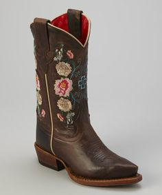 I WANT BIG GIRL EMBROIDERED BOOTS LIKE THIS!  Tiny toes are sure to do-si-do all the way home from the playground or the rodeo in these stylin' boots. Fully constructed from leather with a classic cowboy shape and colorful design, this pair is plenty playful and plenty sturdy.