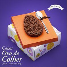 """Abuse deste doce maravilhoso! Casca de ovo recheado com brigadeiro! Tudo dentro da nossa caixa """"Jardim"""". Possuí proteção anti-gordura fosca."""