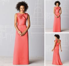 High Neck Sleeveless Plain Satin Coral Bridesmaids Dresses $94.00