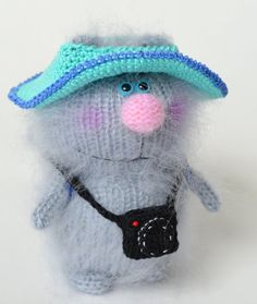 Cat Tourist with camera-  Grey Amigurumi Kitten - Miniature Pet Animals - Hand-Knitted Toys - Funny Gift Cat