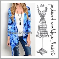 Shades of Blue Cardi So fun and right on trend tie dye open Cardi sweater in shade of blues. Asymmetrical hemline.  Made of cotton/poly spandex blend. Size S, M, L Threads & Trends Sweaters Cardigans