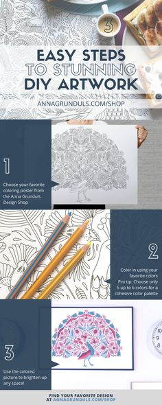 3 easy steps to stunning diy artwork: Creating a stunning wall art can be easy! No more blood, sweat and tears put into drawing lessons - these coloring posters are pure fun! Relax and color in the picture with your favorite colors to create a wall art everybody will compliment! :)