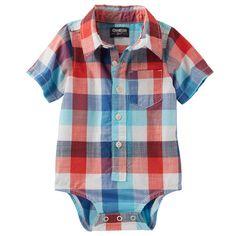 Cute little had-a-gift-card splurge: Plaid Button-Front Poplin Bodysuit