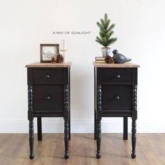 black nightstands painted tables painted furniture - Painted Bedroom Furniture