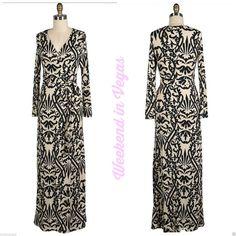 Luz Long Sleeve Maxi Wrap Dress 70 039 s Boho Baroque Hippie Chic Los Angeles $89 | eBay