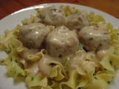 A Taste of Home Cooking: Swedish Meatballs with Egg Noodles - Elliott really liked these. I made the meatballs ahead and froze them, then I made the gravy during naptime which made dinner easy to throw together. I just  warmed the meatballs with the gravy, made mashed potatoes, steamed veggies, and dished out some lingonberry jam. Easy peasy and very yummy.