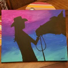 acrylic painting, cowgirl, horse, easy, paint night