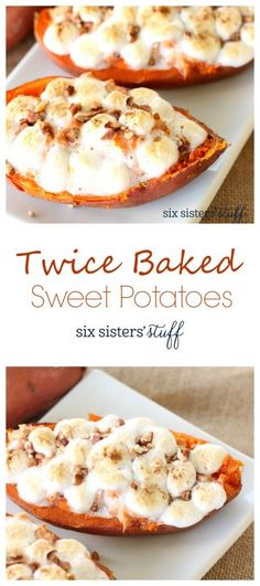 Twice Baked Sweet Potatoes. If you love sweet potatoes as much as we do, these twice baked ones are a must try! These could probably be eaten as a dessert, but great with Turkey on Thanksgiving. Thanksgiving Side Dishes, Thanksgiving Recipes, Fall Recipes, Holiday Recipes, Great Recipes, Favorite Recipes, I Love Food, Good Food, Yummy Food