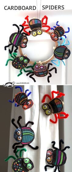 CARDBOARD SPIDERS cute craft when you do the bible series on bugs