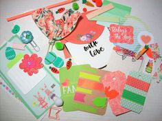 Mini Peach and Green Planner Kit / Spring / Easter / Stationery / Pen Pal / Scrapbooking / Journaling by ASprinkleOfLovely on Etsy