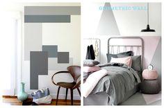 Malowanie ściany w geometryczne wzory. - zdjęcie od cleo-inspire - Sypialnia - Styl Nowoczesny - cleo-inspire