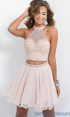 Short Embellished Two Piece A-Line Dress by Blush at SimplyDresses.com