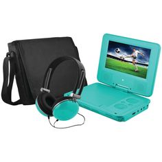 """Ematic 7"""" Portable Dvd Player Bundle (teal)"""