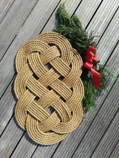 Nautical Rope Door Mat Natural Manila Seven Seas Knot Neutral Colour New England Coastal Beach Style Decor X 13 Inches