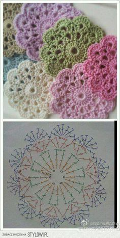 "Delicadezas ""Crochet Flower Coaster - with Diagram"", ""Crochet - coasters pattern (instructions in Russian)"", ""Free crochet coaster pattern using one Mandala Au Crochet, Crochet Diy, Crochet Motifs, Crochet Flower Patterns, Crochet Diagram, Crochet Chart, Crochet Squares, Love Crochet, Crochet Designs"