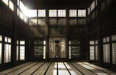 Dojo(道場) : a place where judo, jujutsu, aikijujutsu, and kendo is practiced. Japanese Dojo, Japanese House, Japanese Shrine, Japanese Interior, Japanese Design, Japanese Style, Karate Dojo, Tatami Room, Ju Jitsu