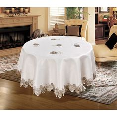 Daniels Bath Royal Embroidered Lace Tablecloth Color: