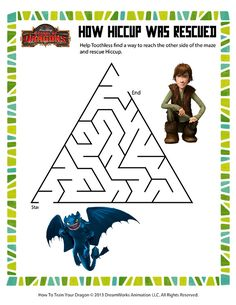 How Hiccup was Rescued - Printable Mazes Worksheets