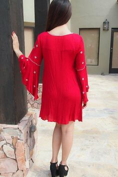 Tale To Tell Embroidered Red Print Long Sleeve Shift Dress Event Dresses, Holiday Dresses, Fall Dresses, Cute Dresses, Casual Dresses, Short Dresses, Dinner Dresses, Women's Casual, Mini Dresses