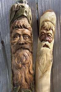left hiking stick sassafras wood spirit bass wood