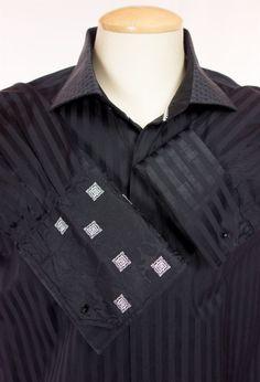 ROBERT GRAHAM Mens Dress Shirt 18 XL XXL 46 Black French Cuff Cotton Long Sleeve #RobertGraham