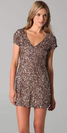 clustered beaded v neck dress