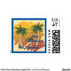 Palm Trees Christmas Lights Personalized Postage