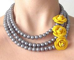 Beaded Necklace, Bridal Jewelry, Flower Necklace, Bridesmaid Jewelry, Gray and Yellow Necklace. $63.00, via Etsy.