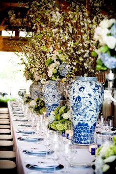 gorgeous, grand ginger jar centerpieces with branches from @Todd Fiscus #wedding #springwedding