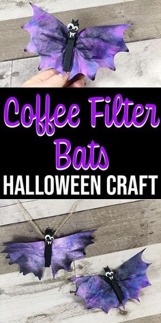 These Coffee Filter Bats are a cute Fun Halloween crafts for kids! These coffee filter bats are an easy Halloween craft for kids of all ages to make. They take about 20 minutes and use craft supplies you probably already have in your house. Theme Halloween, Easy Halloween Crafts, Fall Crafts For Kids, Holidays Halloween, Holiday Crafts, Craft Kids, Halloween Crafts For Preschoolers, Halloween Crafts For Kindergarten, Kids Halloween Crafts