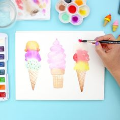 Watercolor Ice Cream Cones | Summer Art Projects | Learn how to paint watercolor ice cream cones with this detailed step by step tutorial. This is a great watercolor project for beginners.