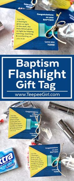 This Baptism Flashlight Gift Tag is a great way to celebrate a child's baptism! It's easy, inexpensive, & FUN! LDS baptism gifts have never been easier! www.TeepeeGIrl.com