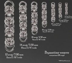 Weave Ring Sizes & Rings per Inch (tablet version) : Precious metal Chainmaille Jump Rings, Scorch approved Dragon delivered Jump Ring Jewelry, Metal Jewelry, Beaded Jewelry, Jewellery, Chainmail Patterns, Wire Jewelry Patterns, Byzantine Jewelry, Chainmaille Bracelet, Bracelet Tutorial